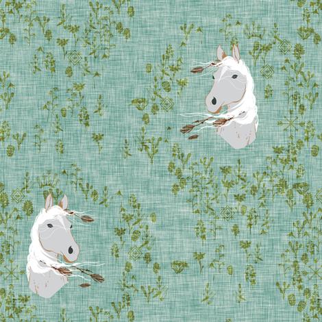 Pony Meadow (green) fabric by nouveau_bohemian on Spoonflower - custom fabric