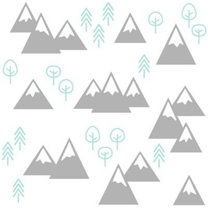 PNW - Mountains & Trees Light Gray + Mint on White