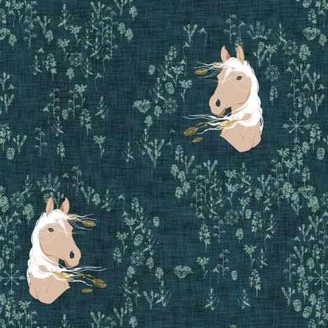 Pony Meadow (dark teal) fabric by nouveau_bohemian on Spoonflower - custom fabric