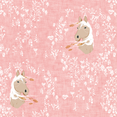 Pony Meadow (pink) fabric by nouveau_bohemian on Spoonflower - custom fabric