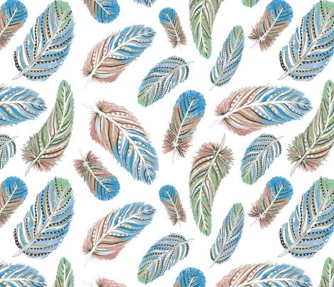 Boho Feathers fabric by danielle_kinleyryland on Spoonflower - custom fabric