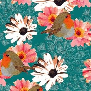 Robins Dahlias Daisies Teal Upholstery Fabric