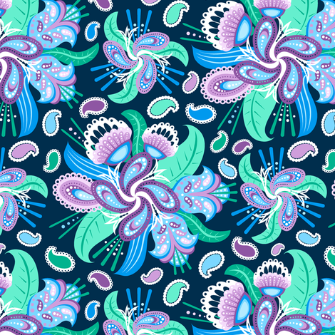 Painted Paisley fabric by jjtrends on Spoonflower - custom fabric