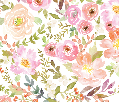 Watercolor Pastel Floral fabric by willowlanetextiles on Spoonflower - custom fabric