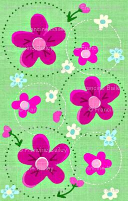 Spring Flower Dance Spring green & bold pink