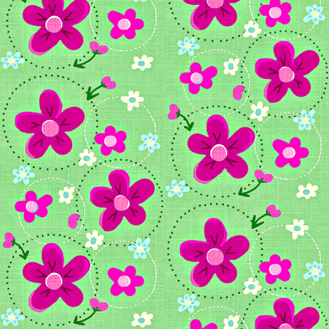 Spring Flower Dance Spring green & bold pink  fabric by franbail on Spoonflower - custom fabric