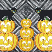 Jack-o-lantern and Cats