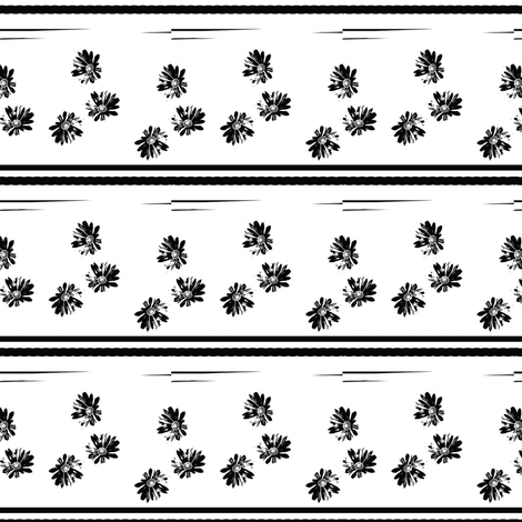 Daisies and Stripes Black and White Upholstery Fabric fabric by llukks on Spoonflower - custom fabric