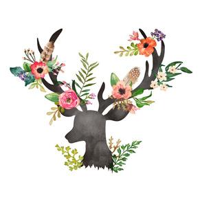 """2 to 1 Yard / 21"""" x 36"""" Floral Dreams Deer"""