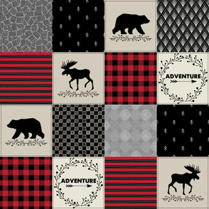 Adventure Patchwork Quilt - Black, Red + Cream Woodland Bear & Moose Baby Blanket Design