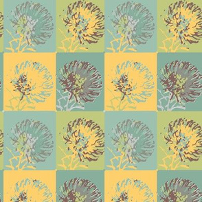 geometric floral pastel || flower green yellow blue gray australia protea