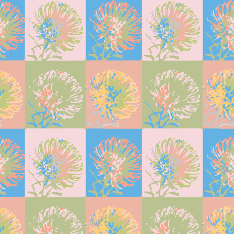 16-11L Protea Flower Floral  Geometric || Pastel Green pink blue coral peach _ Miss Chiff Designs fabric by misschiffdesigns on Spoonflower - custom fabric