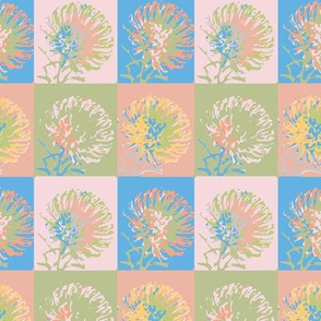 16-11L Protea Flower Floral  Geometric || Pastel Green pink blue coral peach _ Miss Chiff Designs