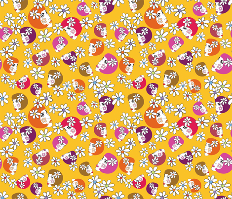 BoHo_flower_girl_yellow fabric by peppermintpatty on Spoonflower - custom fabric