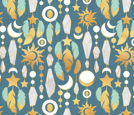 Bohemian spirit // dark turquoise background mint & gold feathers golden suns & moons grey crystal gems fabric by selmacardoso on Spoonflower - custom fabric