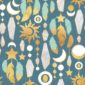 Bohemian spirit // dark turquoise background mint & gold feathers golden suns & moons grey crystal gems