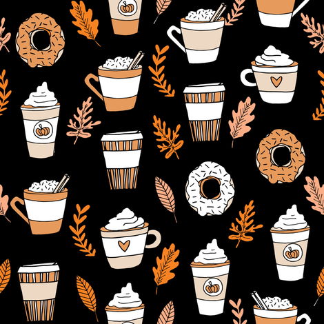 pumpkin spice latte fabric coffee and donuts fall autumn traditions black fabric by andrea_lauren on Spoonflower - custom fabric