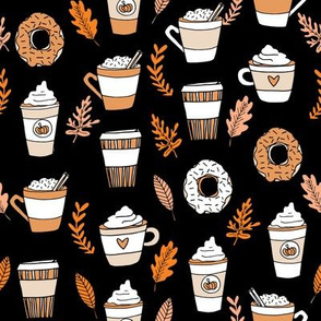 pumpkin spice latte fabric coffee and donuts fall autumn traditions black