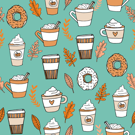 pumpkin spice latte fabric coffee and donuts fall autumn traditions mint fabric by andrea_lauren on Spoonflower - custom fabric