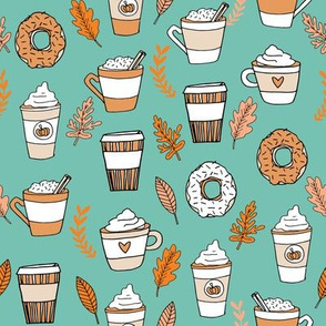 pumpkin spice latte fabric coffee and donuts fall autumn traditions mint