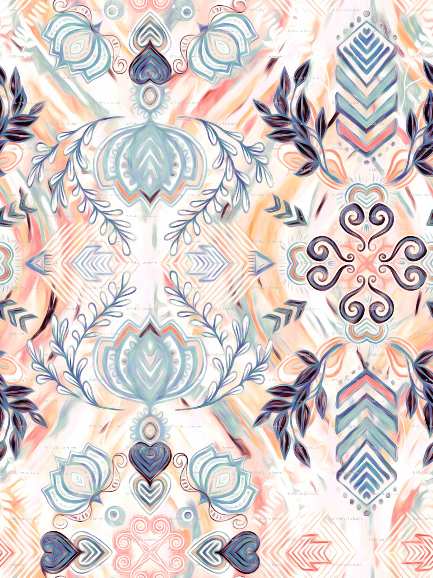 c68c973a77e Abstract Painted Boho Pattern in Peach   Grey wallpaper - micklyn -  Spoonflower