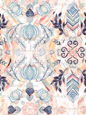 Abstract Painted Boho Pattern in Peach & Grey