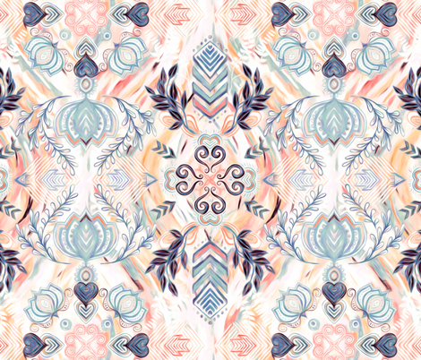Abstract Painted Boho Pattern in Peach & Grey fabric by micklyn on Spoonflower - custom fabric