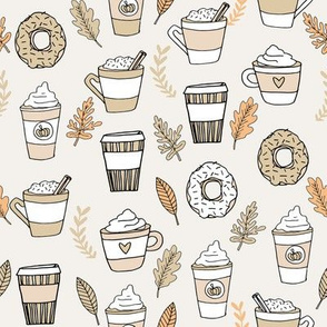 pumpkin spice latte fabric coffee and donuts fall autumn traditions neutral