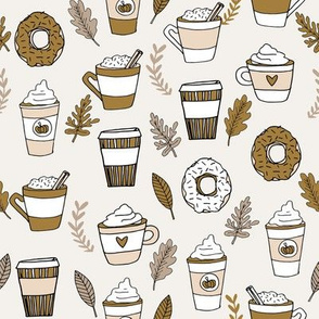 pumpkin spice latte fabric coffee and donuts fall autumn traditions ochre