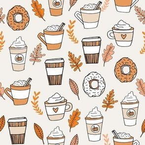 pumpkin spice latte fabric coffee and donuts fall autumn traditions off-white