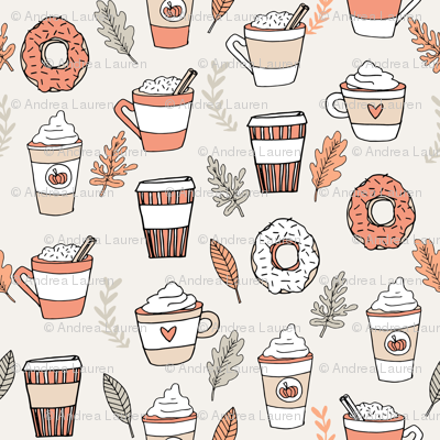 pumpkin spice latte fabric coffee and donuts fall autumn traditions peach