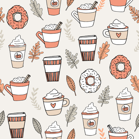 pumpkin spice latte fabric coffee and donuts fall autumn traditions peach fabric by andrea_lauren on Spoonflower - custom fabric