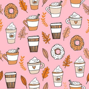 pumpkin spice latte fabric coffee and donuts fall autumn traditions pink