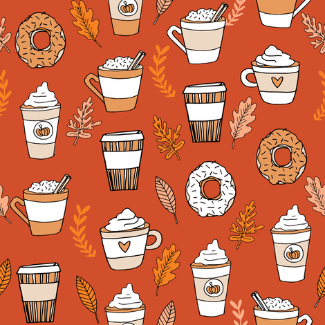 pumpkin spice latte fabric coffee and donuts fall autumn traditions rust fabric by andrea_lauren on Spoonflower - custom fabric