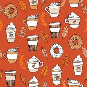 pumpkin spice latte fabric coffee and donuts fall autumn traditions rust