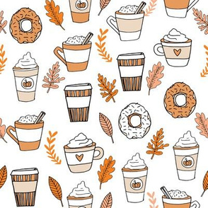 pumpkin spice latte fabric coffee and donuts fall autumn traditions
