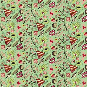 1980's Memphis style design, small scale, lime mint green red pink coral