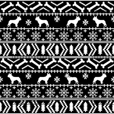 Boston Terrier fair isle christmas dog fabric black and white