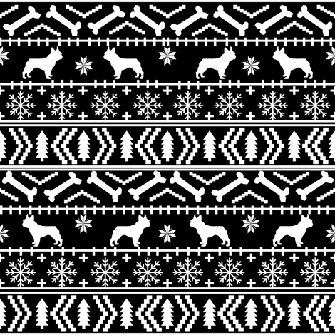 Boston Terrier fair isle christmas dog fabric black and white fabric by petfriendly on Spoonflower - custom fabric
