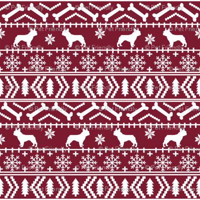 Boston Terrier fair isle christmas dog fabric maroon