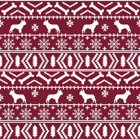 Boston Terrier fair isle christmas dog fabric maroon fabric by petfriendly on Spoonflower - custom fabric