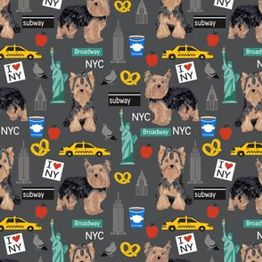 Yorkie new york city tourist yorkshire terrier dog fabric charcoal