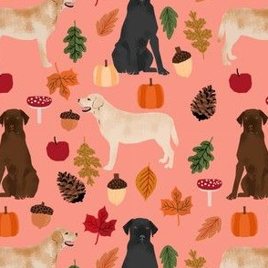 labradors in autumn fabric - yellow, black and chocolate lab fabric - peach orange