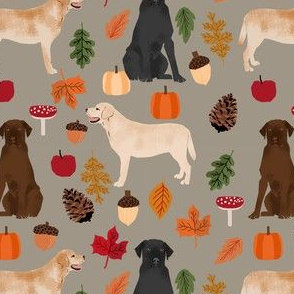 labradors in autumn fabric - yellow, black and chocolate lab fabric - medium brown