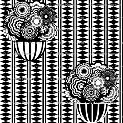 Bohemian Stripe and Flower Pots