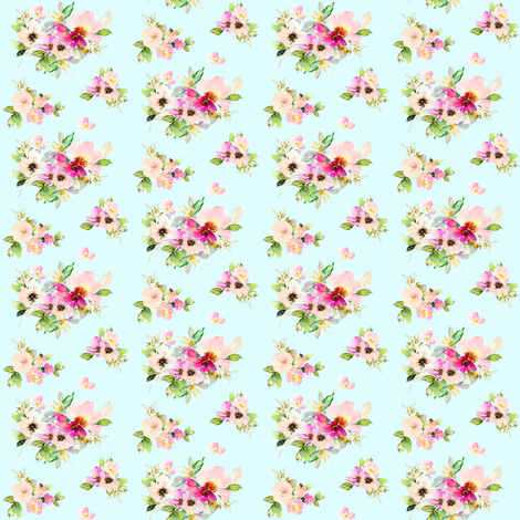 "2"" Kalani Blooms - Blue fabric by shopcabin on Spoonflower - custom fabric"