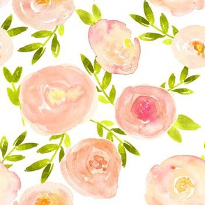 pink peach blush watercolor floral
