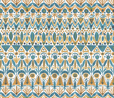 Teal & Gold Boho fabric by artfully_minded on Spoonflower - custom fabric