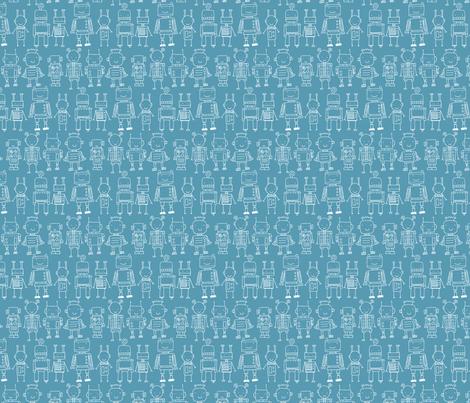 Robot - blue fabric by katybobsyouraunty on Spoonflower - custom fabric