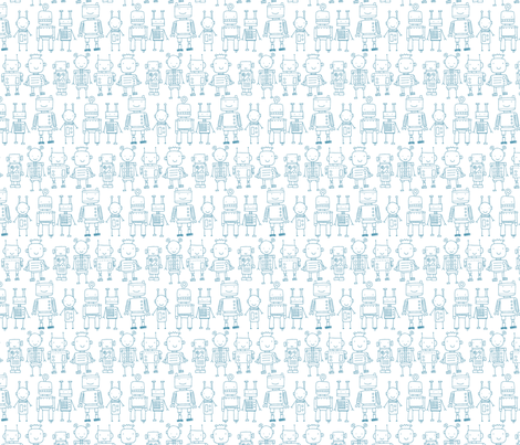 Robots - white fabric by katybobsyouraunty on Spoonflower - custom fabric